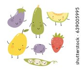 cartoon fruit and vegetables.... | Shutterstock .eps vector #639005995