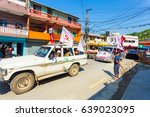 Small photo of Pokhara, Nepal - May 11, 2017: Communist Party supporters waving Maoist flags and campaigning for the 2017 national elections
