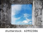 Old Wall With Blue Sky Window