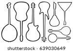 set of different guitars... | Shutterstock .eps vector #639030649
