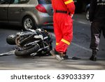 car and motorcycle road accident | Shutterstock . vector #639033397
