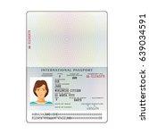 bitmap international passport...   Shutterstock . vector #639034591