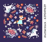 funny unicorns and lovely...   Shutterstock .eps vector #639049639