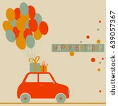 birthday greeting card with car ... | Shutterstock .eps vector #639057367