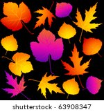 black background with autumnal... | Shutterstock .eps vector #63908347