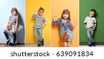Stock photo collage of stylish cute kids posing on color background 639091834