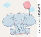 Cute Elephant With Balloon...
