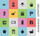 set of 16 editable meal icons.... | Shutterstock .eps vector #639097081