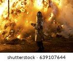 Fireman Fights A Big Fire