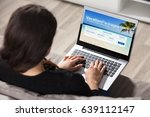 close up of a woman booking... | Shutterstock . vector #639112147