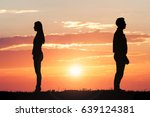 couple silhouette standing away ... | Shutterstock . vector #639124381