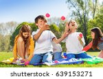 happy kids juggling with little ... | Shutterstock . vector #639153271
