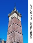 Small photo of Bell tower at Place du Marché (Market Square). Obernai, Alsace, France.
