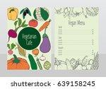 hand drawn vegetarian cafe menu ... | Shutterstock .eps vector #639158245