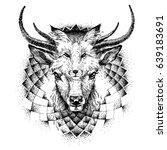 hand sketched deer and fox.... | Shutterstock .eps vector #639183691