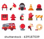 fire safety equipment ... | Shutterstock .eps vector #639187039