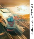 train and plane traveling with... | Shutterstock . vector #639191524