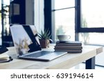 design of workplace with laptop ... | Shutterstock . vector #639194614