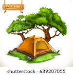 hiking dome tent. camping  3d... | Shutterstock .eps vector #639207055