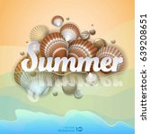 holiday background. shell on... | Shutterstock .eps vector #639208651