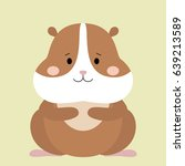 Stock vector cartoon animal cute hamster on green backgrounds flat design vector illustration 639213589