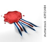 wax seal with lion in field and ... | Shutterstock . vector #63921484