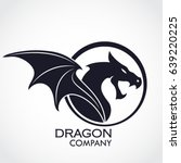 winged dragon circle logo | Shutterstock .eps vector #639220225