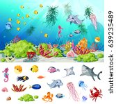 cartoon sea and ocean life... | Shutterstock .eps vector #639235489