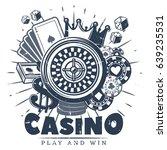 vintage monochrome casino logo... | Shutterstock .eps vector #639235531