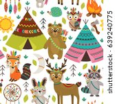 seamless pattern with tribal... | Shutterstock .eps vector #639240775