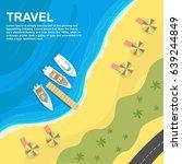 top view of seashore with...   Shutterstock .eps vector #639244849