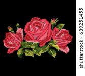 red roses embroidery on black... | Shutterstock .eps vector #639251455