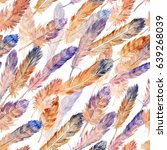 watercolor feathers pattern | Shutterstock . vector #639268039