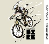 downhill. mountain bike. sketch ... | Shutterstock .eps vector #639272041