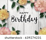 happy birthday message with... | Shutterstock . vector #639274231