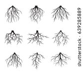 big set of black roots. vector... | Shutterstock .eps vector #639285889
