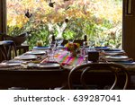 wooden chairs and table set for ... | Shutterstock . vector #639287041