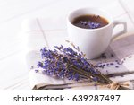 cup of coffee with lavender... | Shutterstock . vector #639287497