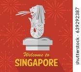 flat design merlion  singapore  ...   Shutterstock .eps vector #639292387