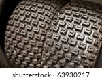 motorcycle quad tire closeup - stock photo