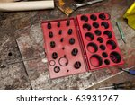 selection of rubber o-rings - stock photo