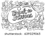 back to school pattern on white ... | Shutterstock .eps vector #639329065