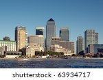 Skyline of Canary Wharf financial centre in London. - stock photo