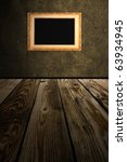 frame an brown wall - stock photo
