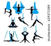 aero yoga silhouettes. black... | Shutterstock .eps vector #639371389