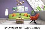 interior living room. 3d... | Shutterstock . vector #639382801