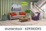 interior living room. 3d... | Shutterstock . vector #639383341