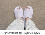 selfie feet wearing white... | Shutterstock . vector #639384229
