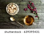 cup with tea on wooden table | Shutterstock . vector #639395431