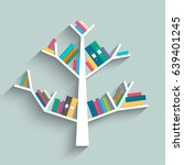 bookshelf in form of tree with... | Shutterstock .eps vector #639401245